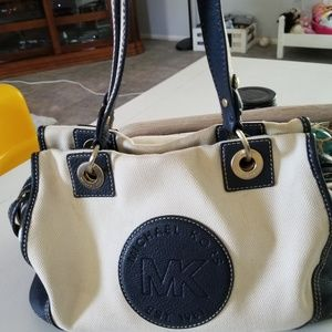 Michael Kors canvas and navy leather shoulder bag